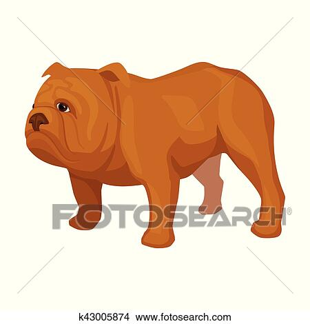 Bulldog inglese icona in cartone animato stile isolato bianco
