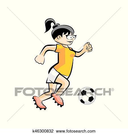 Fussballerin Mit Kugel Vektor Karikatur Freigestellt Clipart