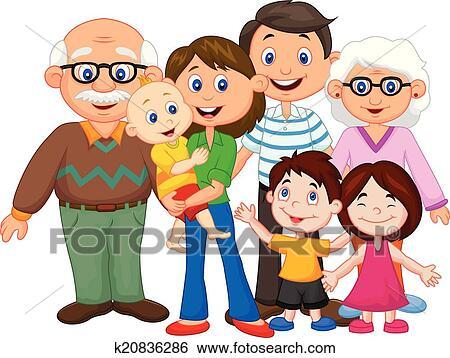 Clipart Famille clipart - heureux, dessin animé, famille k20836286 - recherchez des