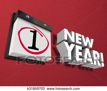 drawing new year day calendar date wall hanging first day january 1 fotosearch