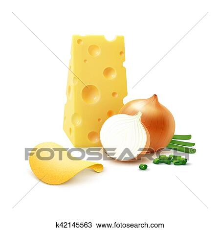 Potato Crispy Chips With Cheese And Onion Isolated Clipart K42145563 Fotosearch