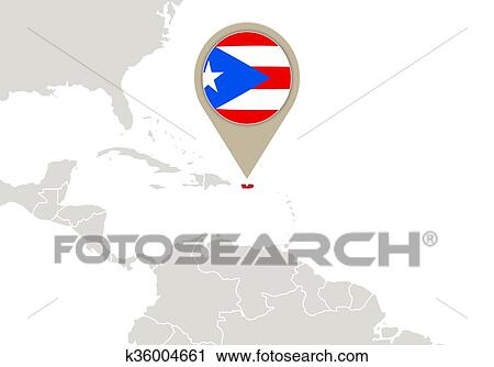 Puerto Rico on World map Clipart