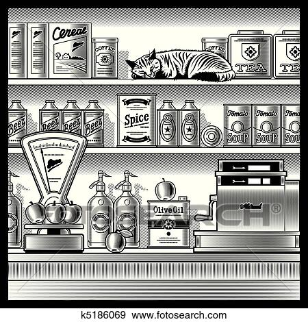 Retro store black and white Clip Art | k5186069 | Fotosearch