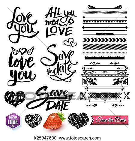 Set Van Liefde Teksten Randjes En Symbolen Op Wit