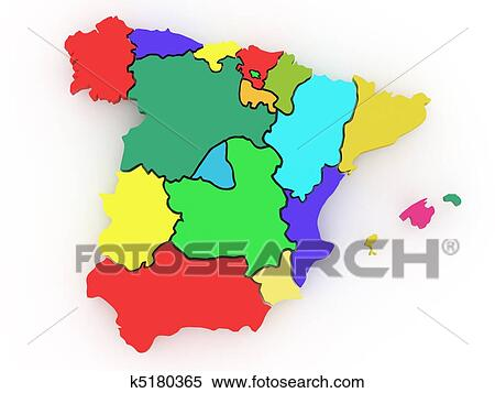 3d Map Of Spain.Three Dimensional Map Of Spain 3d Stock Illustration