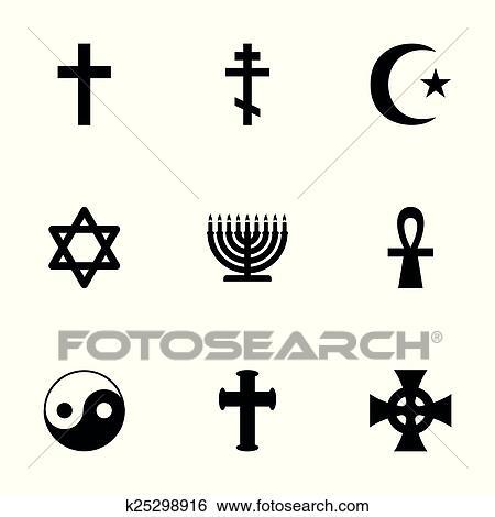 Clip Art Of Vector Religious Symbols Icon Set K25298916 Search