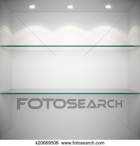 Mensole In Vetro Luminose.Vuoto Bacheca Con Vetro Mensole Archivio Fotografico