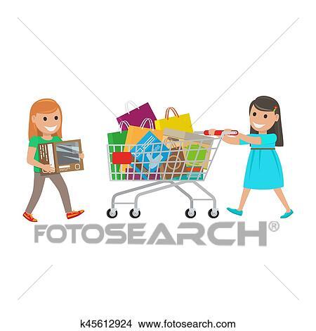 clipart zwei kleine m dchen heraus auf shoppen an supermarkt k45612924 suche clip art. Black Bedroom Furniture Sets. Home Design Ideas