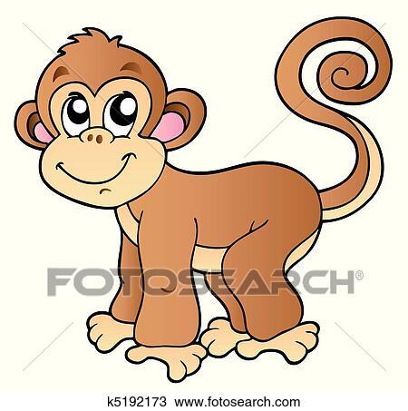 かわいい 小さい サル クリップアート切り張りイラスト絵画集