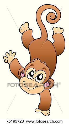 面白い かわいい サル クリップアート切り張りイラスト絵画集