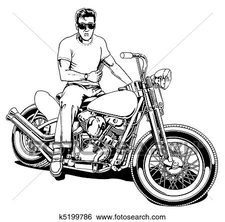 Stock Illustration Of 1950 S Motorcycle Rider K5199786