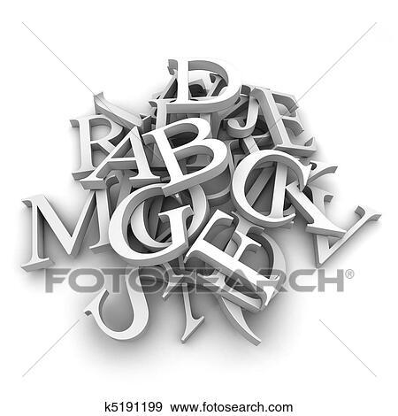 Colección de ilustraciones - alfabeto, cartas, vertido, en, un ...