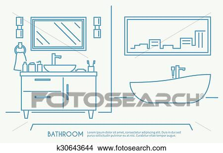 Bathroom Furniture Outline Poster With Luxury Bath Bowl And Shelves Vector Illustration
