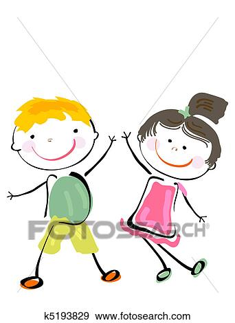 clip art of best friends k5193829 search clipart illustration rh fotosearch com best friends clipart free best friends clipart pictures