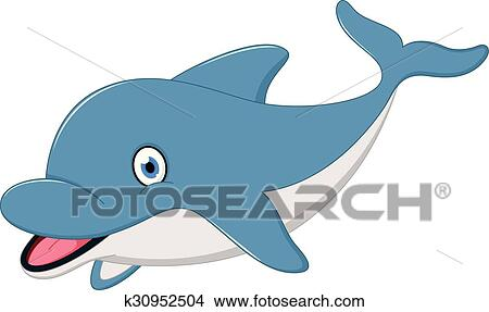 Carino delfino cartone animato clipart k fotosearch