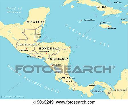 Central America Political Map Clip Art | k19053249 | Fotosearch