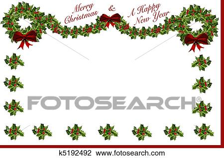 Merry Christmas And Happy New Year Holly Garland Wreath Stationary