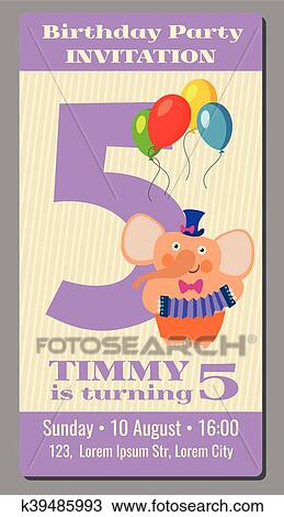 Clipart Of Happy Birthday Lovely Vector Card With Funny Elephant 5