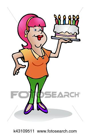 Clipart Of Home Made Birthday Cake K43109511 Search Clip Art