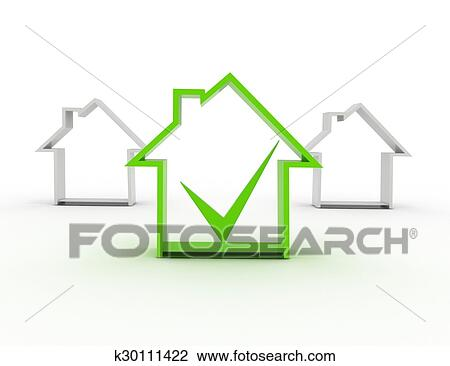 Clip Art Of House Symbol With Check Mark K30111422 Search Clipart