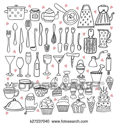 Clipart je amour cooking ustensiles cuisine - Clipart amour ...