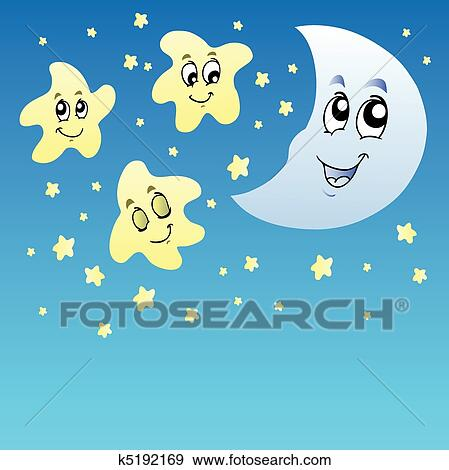 clip art of night sky with cute stars and moon k5192169 search