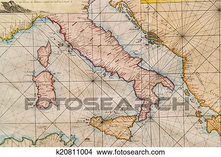 Drawings of old map of italy sicily corsica croatia and sardinia old naval map of italy sicily corsica and sardinia gumiabroncs Choice Image