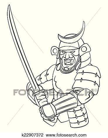 Clipart Of Samurai Warrior K22907372