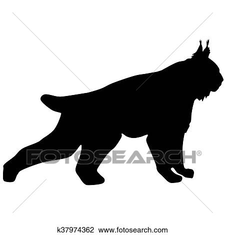 clip art of silhouette of the wild lynx k37974362 search clipart