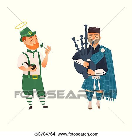 Clipart Of Vector Cartoon People In Uk National Costumes Set
