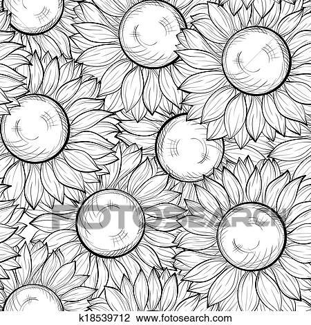 Clipart Of Beautiful Black And White Seamless Background With