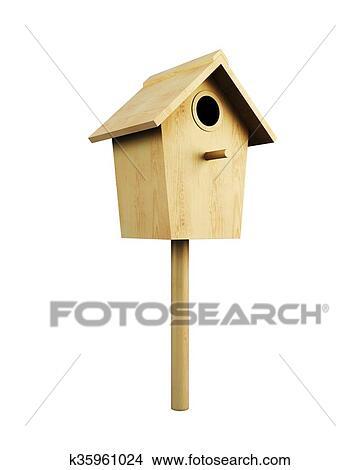Bois Maison Oiseau Sur A Poteau Isole Sur A Blanc Arriere Plan 3d R Banque D Illustrations
