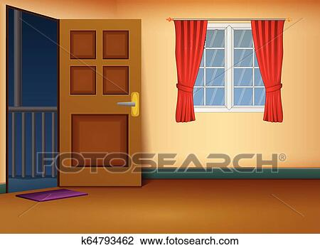 Cartoon Of House Entrance Living Room Design Clipart K64793462 Fotosearch