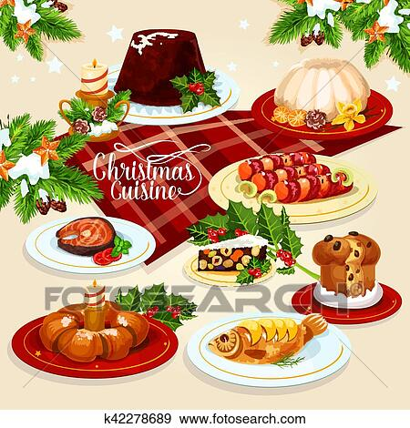 Clip Art Of Christmas Food Icon With Meat Fish Pastry Dishes