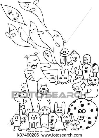 Coloring Pages For Adults Coloring Book Black And White Hipster Hand Drawn Cup Monster Background Clip Art