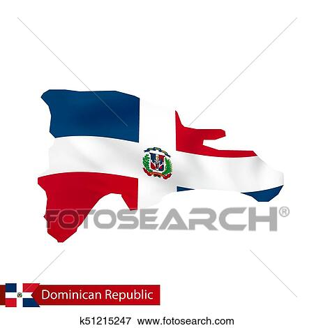 Dominican Republic map with waving flag of country. Clip Art ... on