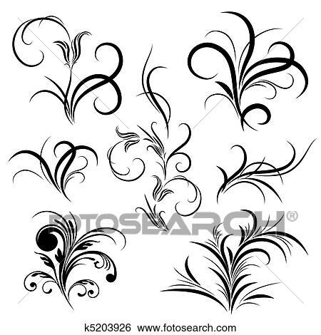 Ensemble De Modele Fleur Tatouage Clipart K5203926