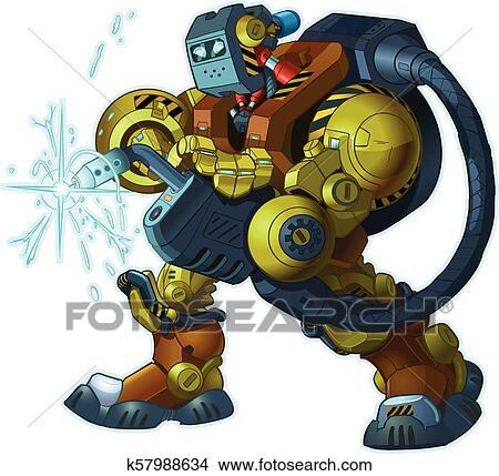 Humanoid Robot Welder Vector Cartoon Mascot Illustration Clipart K57988634 Fotosearch