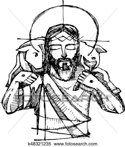 Clipart Of Jesus Christ Good Shepherd K48321235