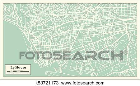 Map Of France Le Havre.Le Havre France City Map In Retro Style Clipart