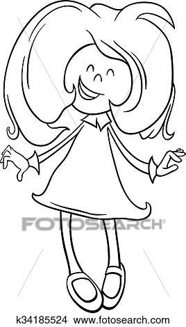 Clipart - negro y blanco, caricatura, ilustración, de, feliz ...
