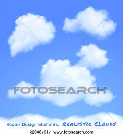 Clipart Realiste Nuages Sur Ciel Bleu K20467617 Recherchez