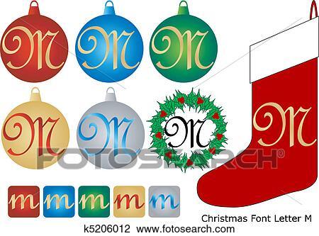 Schriftart Weihnachten.Weihnachten Schriftart Buchstabe M Clipart