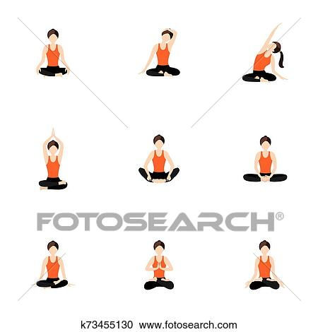 basic and advanced seated yoga asanas set clipart