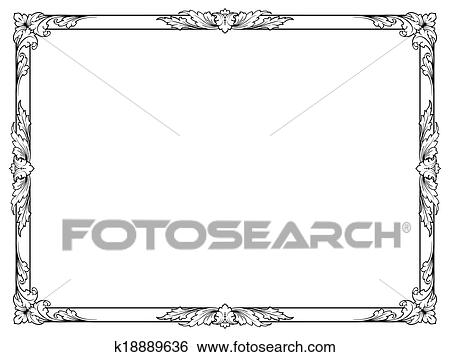 Clip Art - caligrafía, caligrafía, rizado, barroco, marco, negro ...
