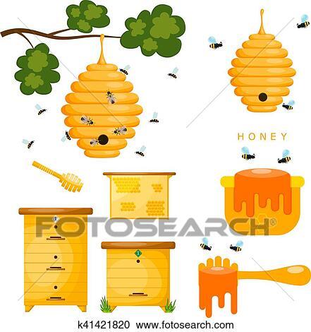 Clipart - conjunto, de, amarillo, objetos, beekeeper., amarillo ...