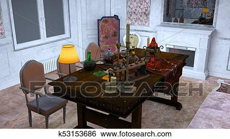 3D CG Rendering Of The Dining Table