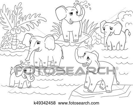 Clip Art - familia, de, elefantes africanos, libro colorear, para ...
