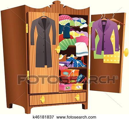 Clip Art Of Girls Wooden Wardrobeeps K46181837 Search Clipart