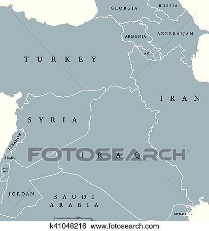 Clip Art Of Kurdish Countries Political Map K41048216 Search